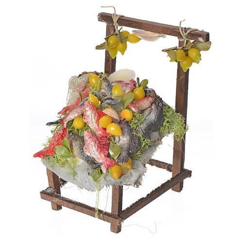 Nativity accessory, fishmonger's stall in wax 10x9x14cm 2