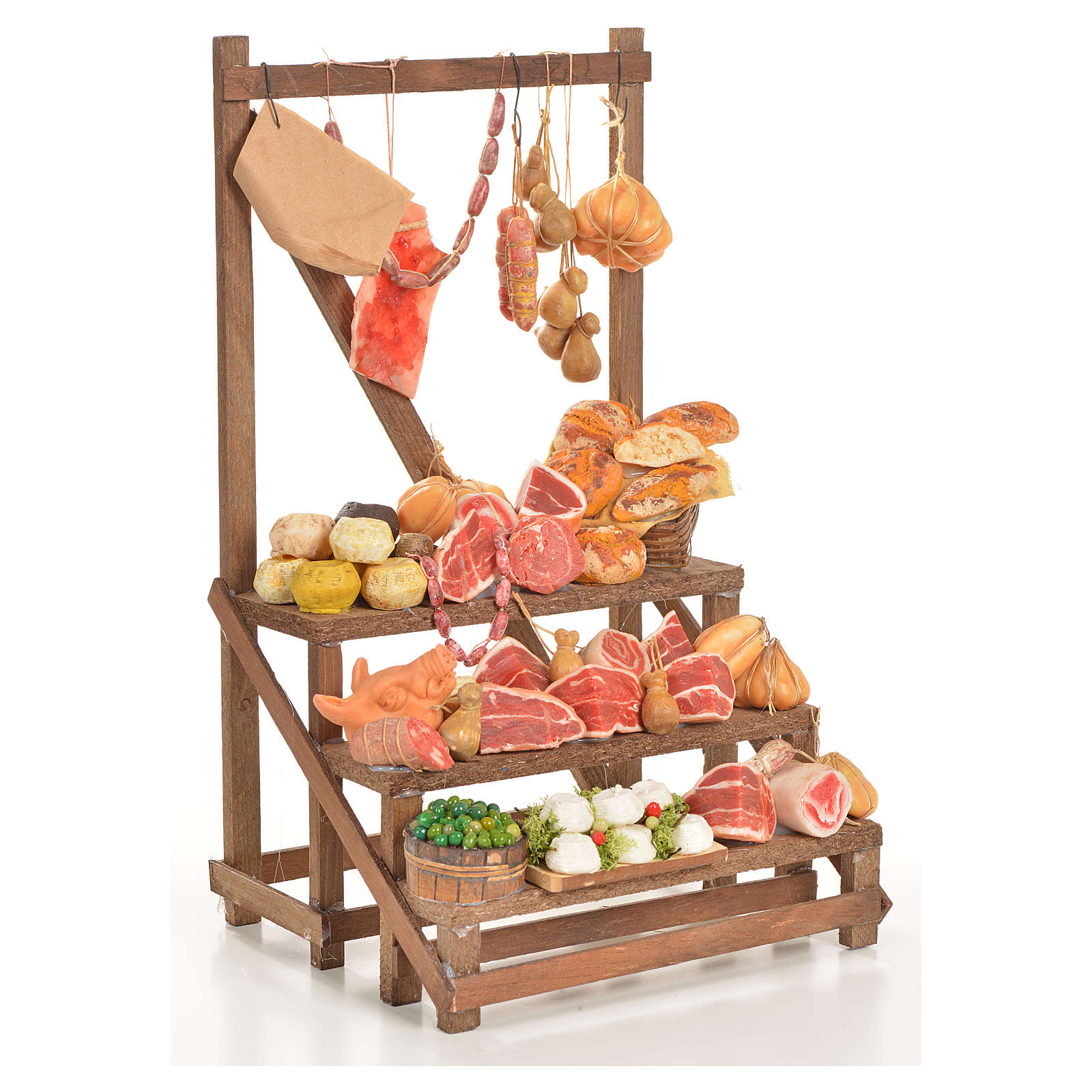 Nativity accessory, cold meat seller's stall 20x22x40cm 4