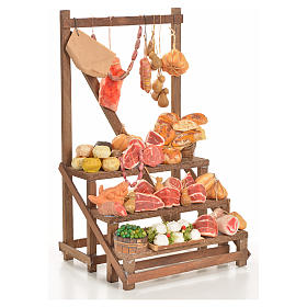 Nativity accessory, cold meat seller's stall 20x22x40cm s4