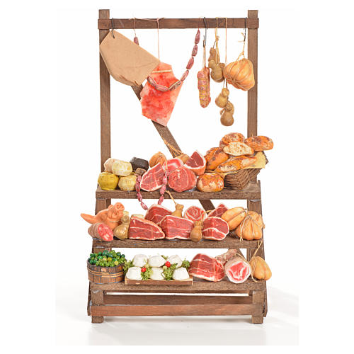 Nativity accessory, cold meat seller's stall 20x22x40cm 1