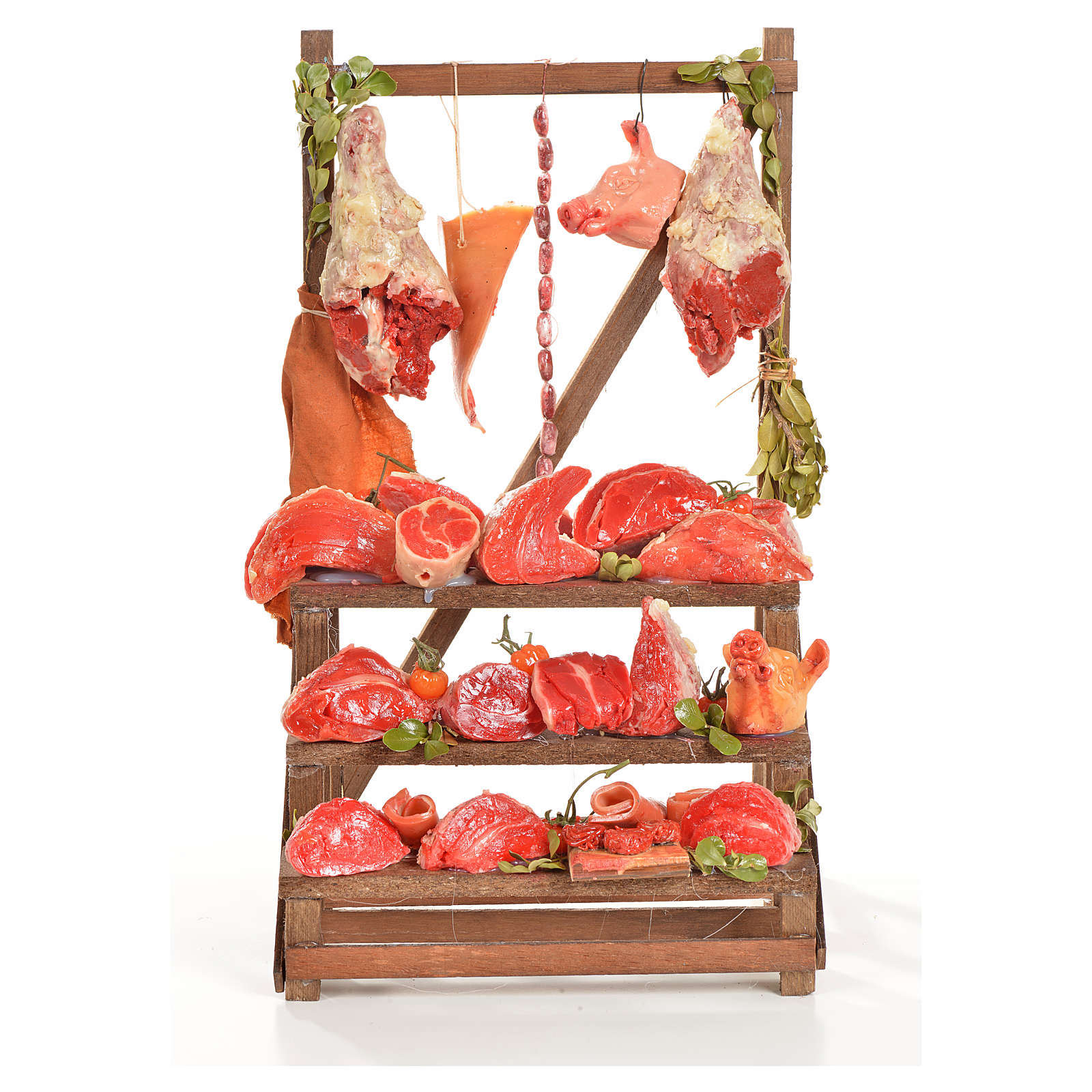 Nativity accessory, butcher's stall 20x22x40cm 4