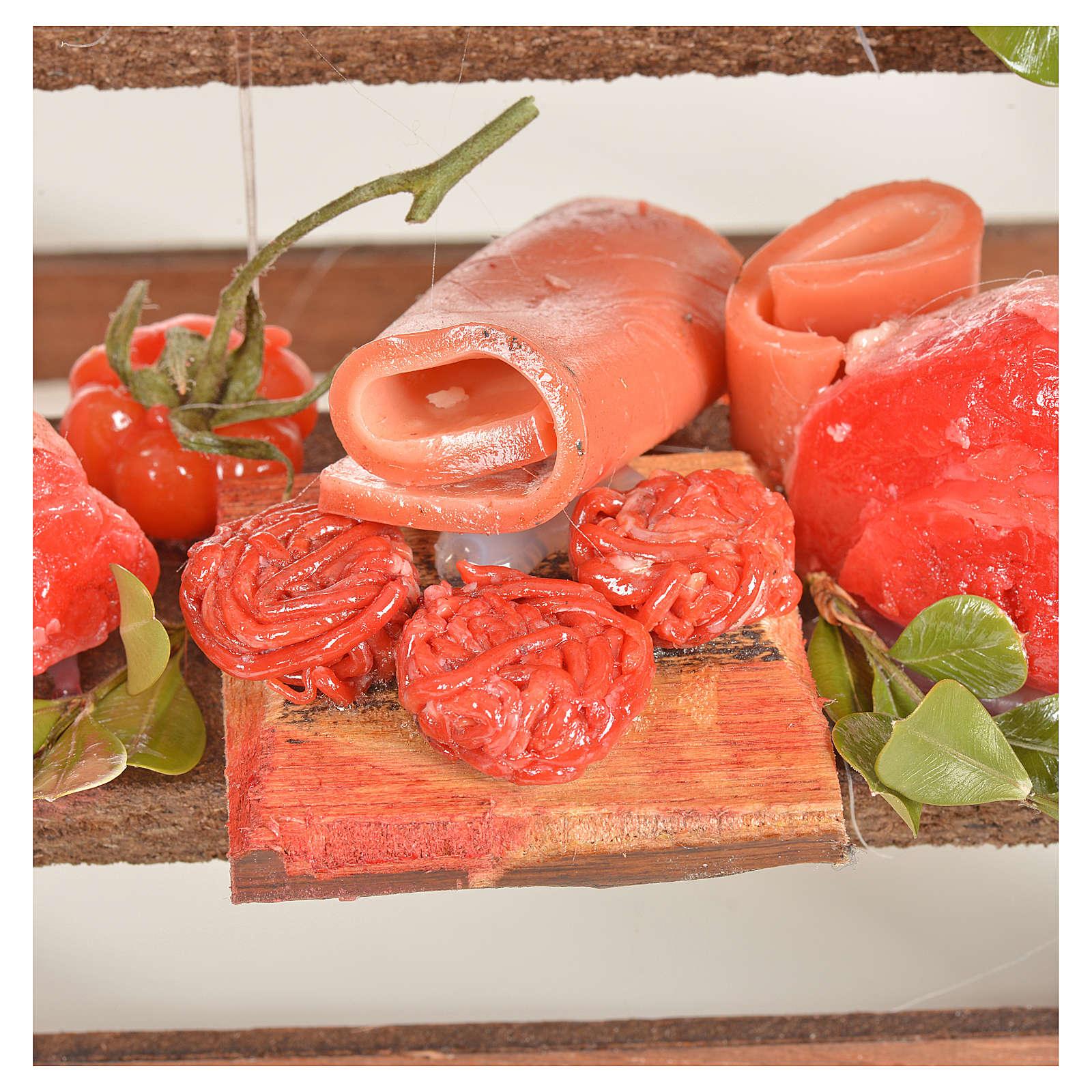 Banc du boucher en cire en miniature 20x22x40cm 4