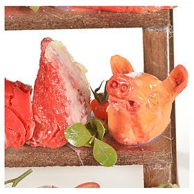 Banc du boucher en cire en miniature 20x22x40cm s5
