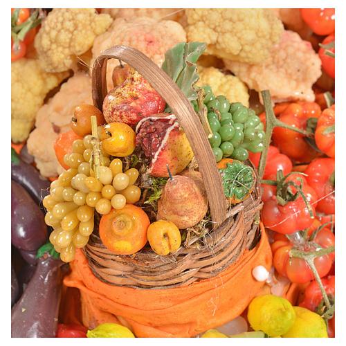 Banc du fruitier en cire en miniature 20x22x40cm 12