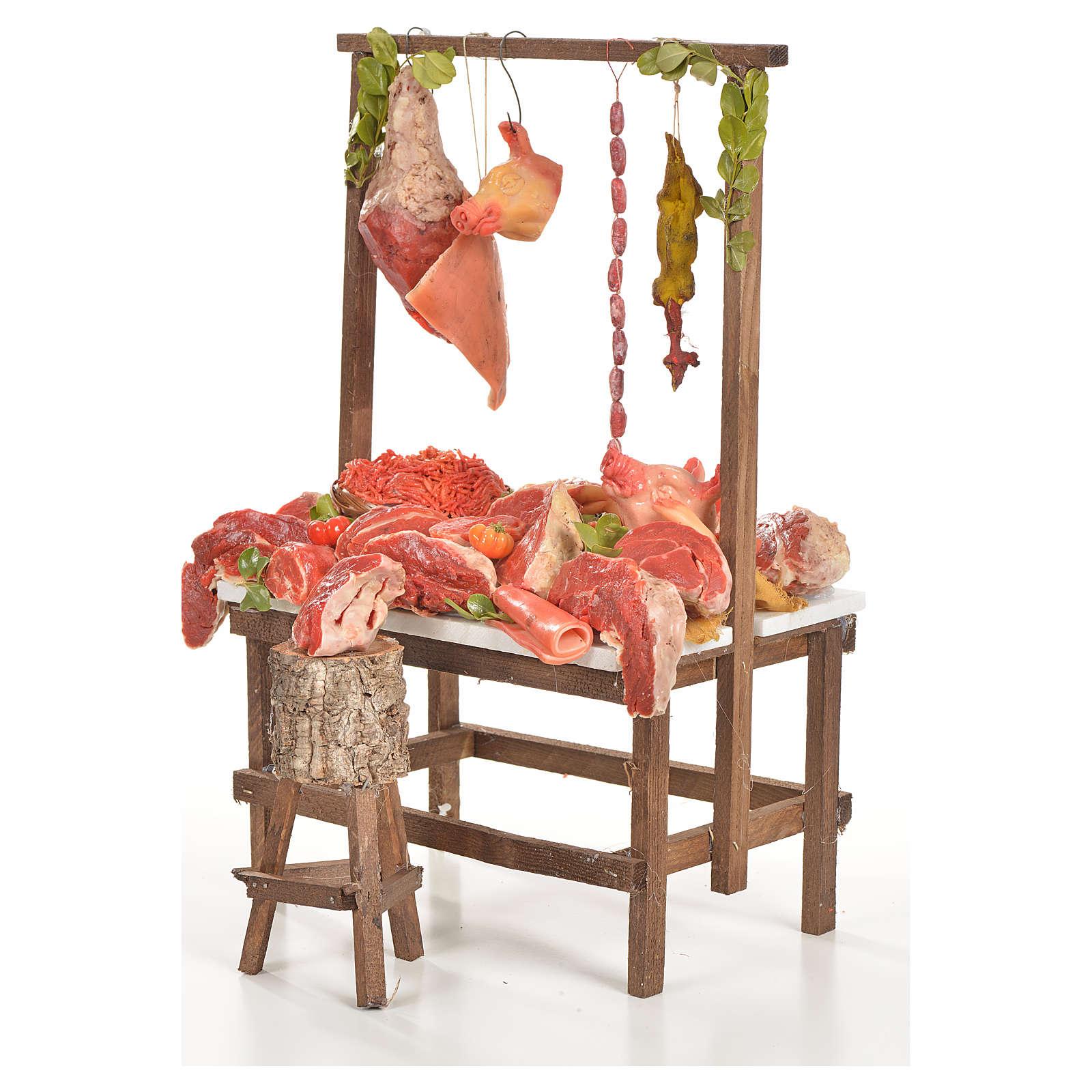 Banc du boucher en cire en miniature 20x27x44cm 4