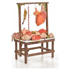 Banc du boucher en cire en miniature 20x27x44cm s3