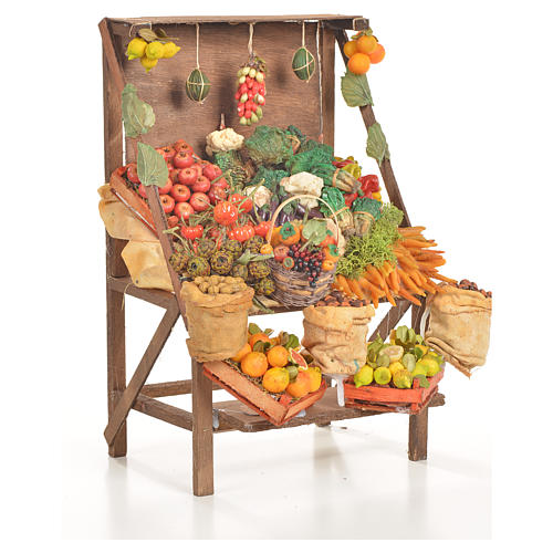 Nativity accessory, greengrocer's stall 20x27x44cm 4