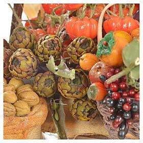Banc du fruitier en cire en miniature 20x27x44cm s6
