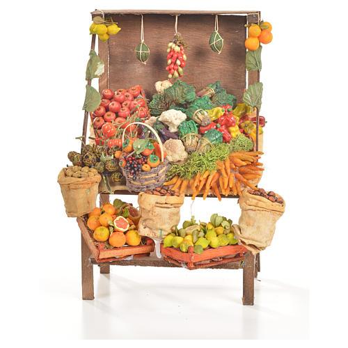 Banc du fruitier en cire en miniature 20x27x44cm 1