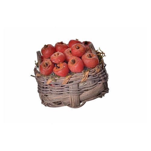 Panier pommes en cire pour crèche 4,5x5,5x6 1