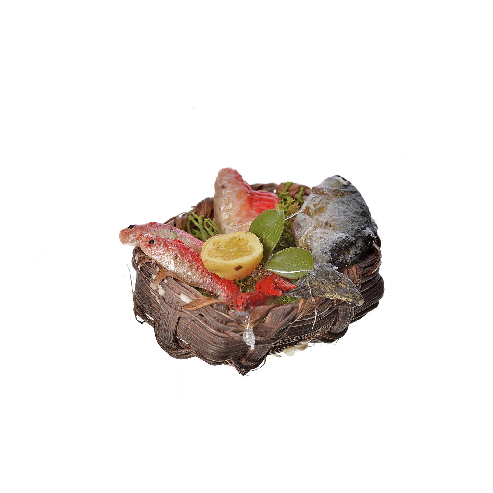 Panier poissons en cire pour crèche 4,5x5,5x6 4