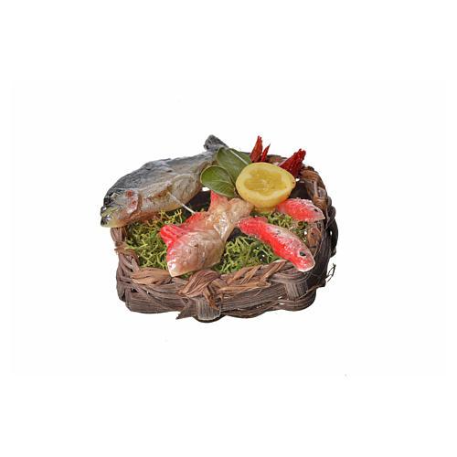 Panier poissons en cire pour crèche 4,5x5,5x6 1