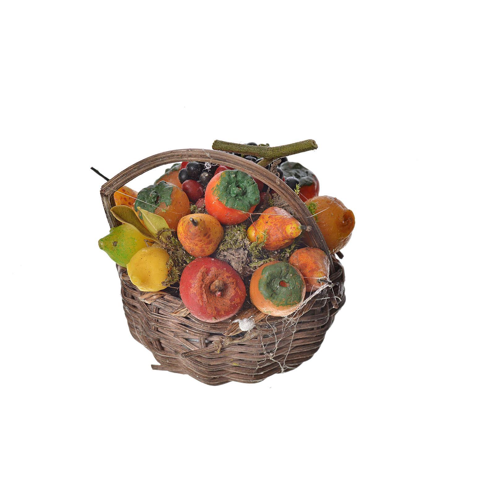 Nativity accessory, fruit basket in wax, 4.5x5.5x6cm 4