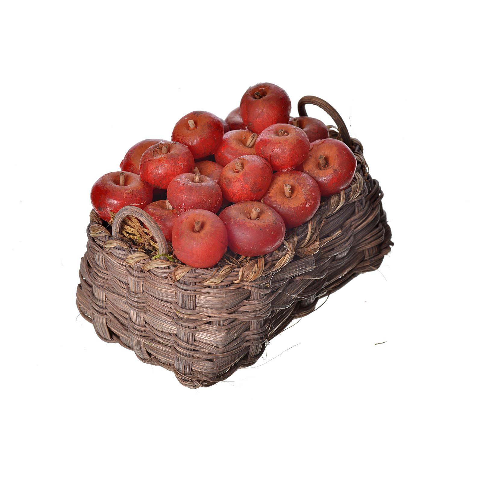 Nativity accessory, apple basket in wax, 10x7x8cm 4