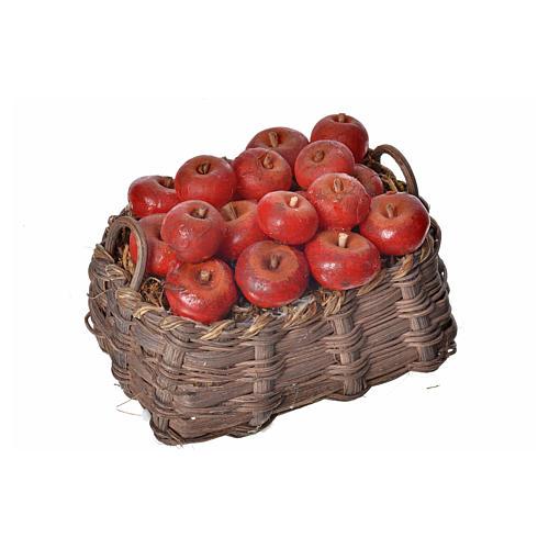 Nativity accessory, apple basket in wax, 10x7x8cm 3