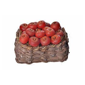 Comida em Miniatura para Presépio: Cesta maçãs em cera 10x7x8 cm