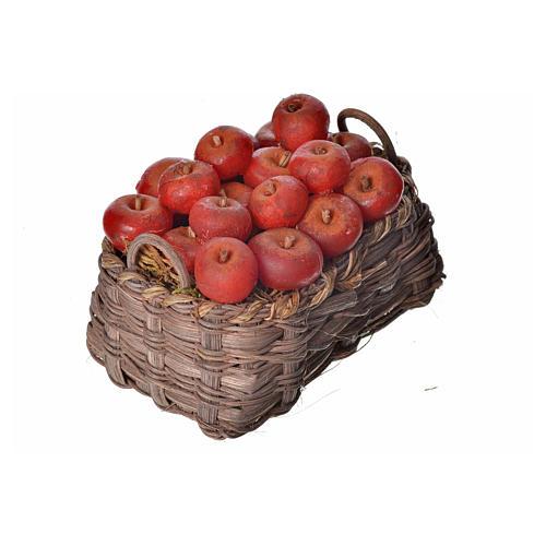 Nativity accessory, apple basket in wax, 10x7x8cm 2