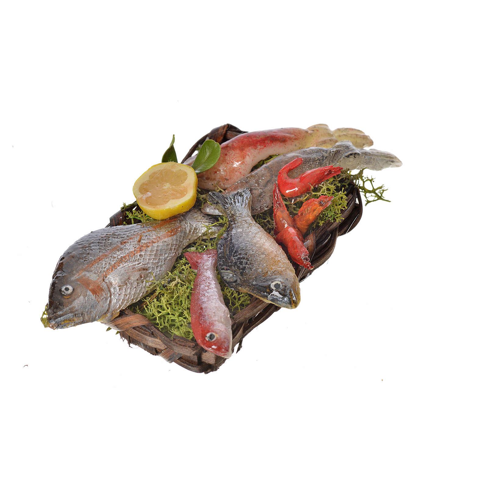 Panier poissons en cire pour crèche 10x7x8cm 4