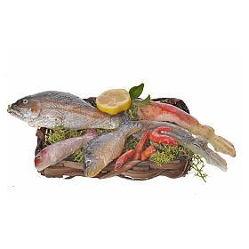 Panier poissons en cire pour crèche 10x7x8cm s1