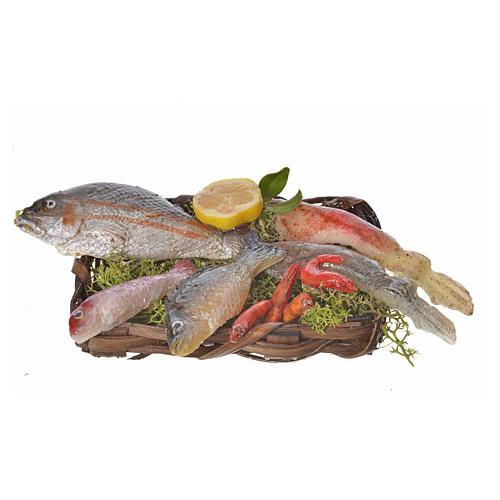 Nativity accessory, fish basket in wax, 10x7x8cm 1
