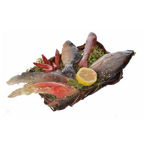 Nativity accessory, fish basket in wax, 10x7x8cm 3
