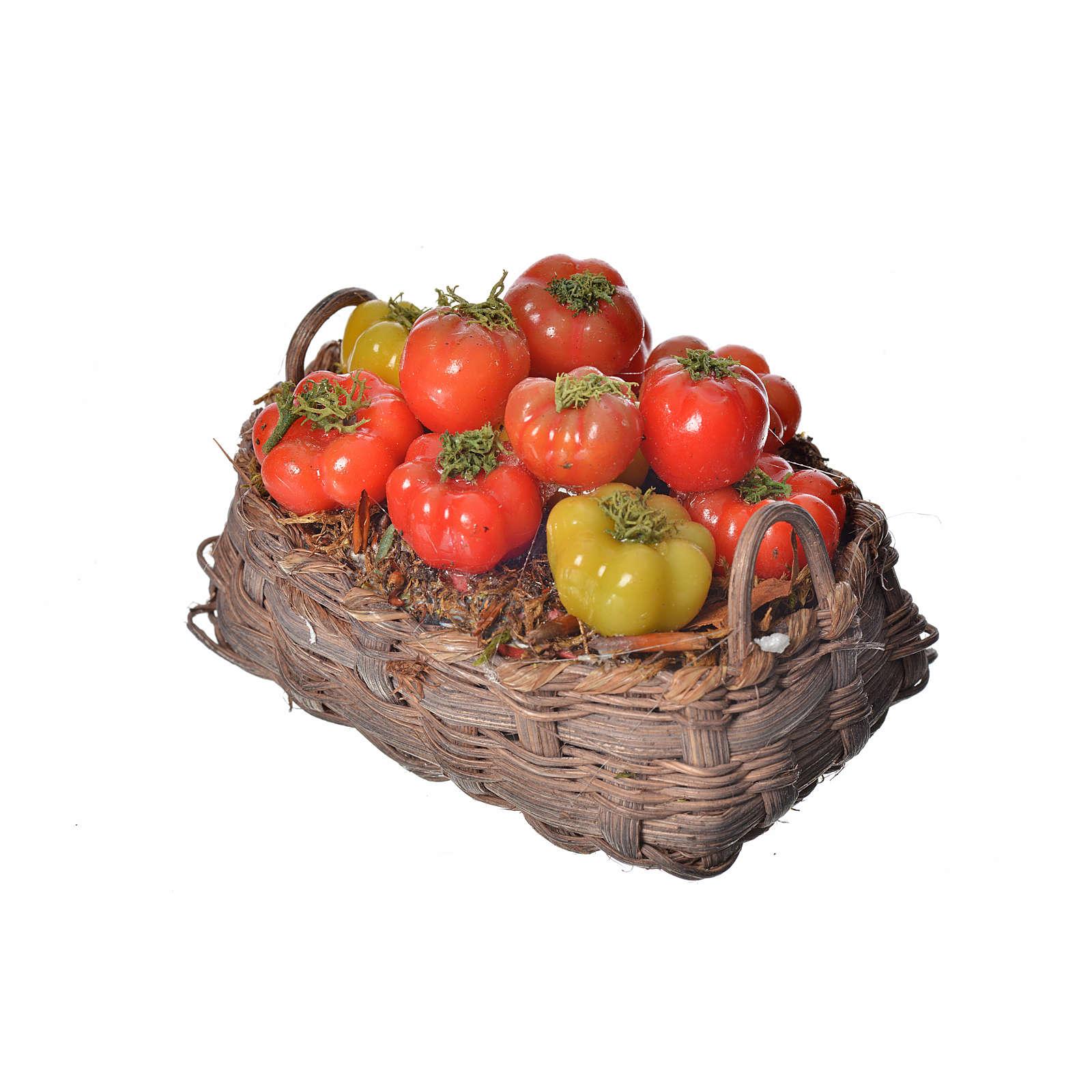 Nativity accessory, tomato basket in wax, 10x7x8cm 4