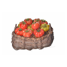 Nativity accessory, tomato basket in wax, 10x7x8cm s1