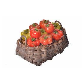 Nativity accessory, tomato basket in wax, 10x7x8cm s2