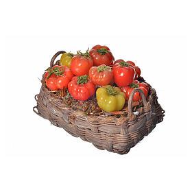 Nativity accessory, tomato basket in wax, 10x7x8cm s3