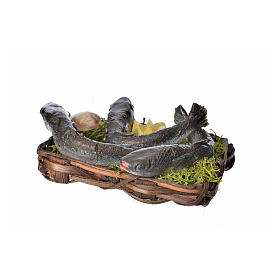 Nativity accessory, fish and clams basket in wax, 10x7x8cm s3