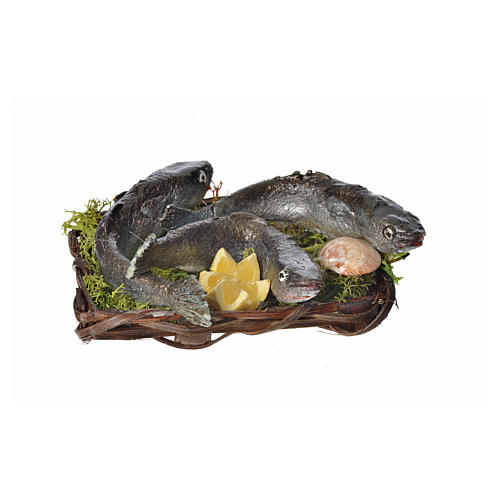 Nativity accessory, fish and clams basket in wax, 10x7x8cm 1