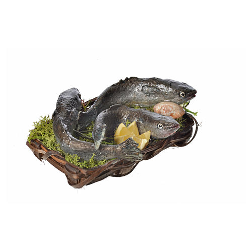 Nativity accessory, fish and clams basket in wax, 10x7x8cm 2