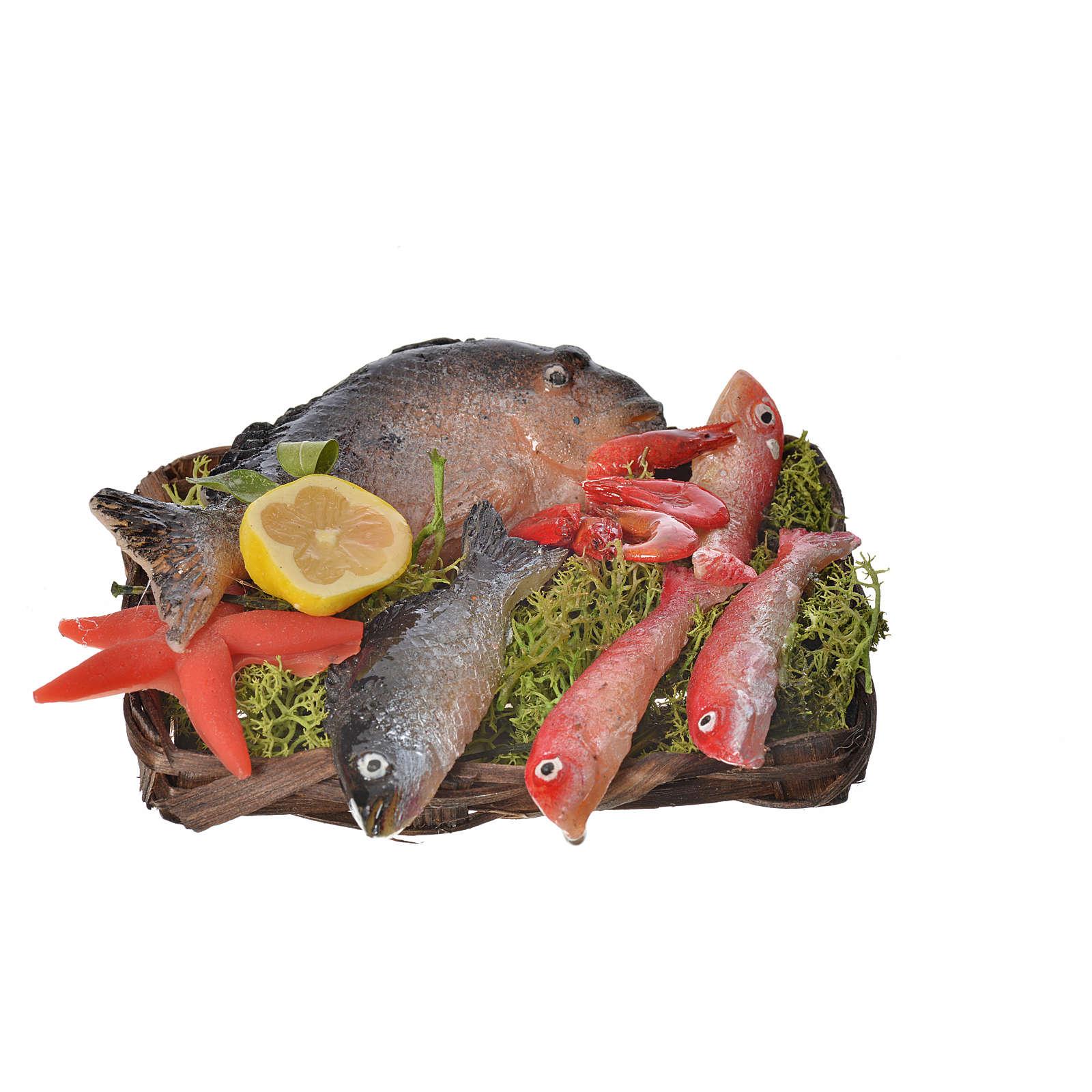 Cesto pesce e gamberetti in cera 10x7x8 cm 4