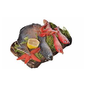 Cesto pesce e gamberetti in cera 10x7x8 cm s2