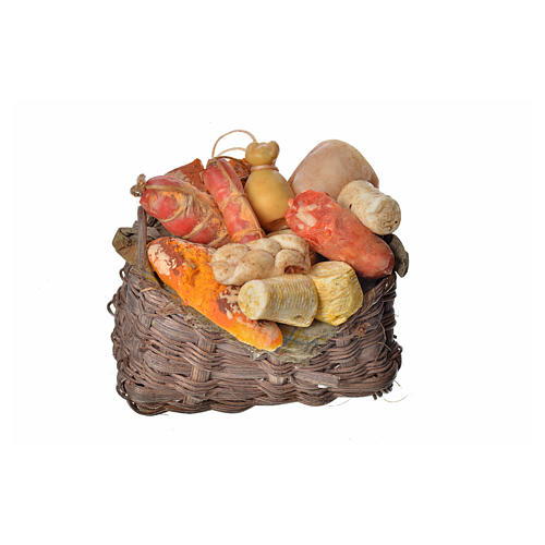 Nativity accessory, cold meat basket in wax, 10x7x8cm 1
