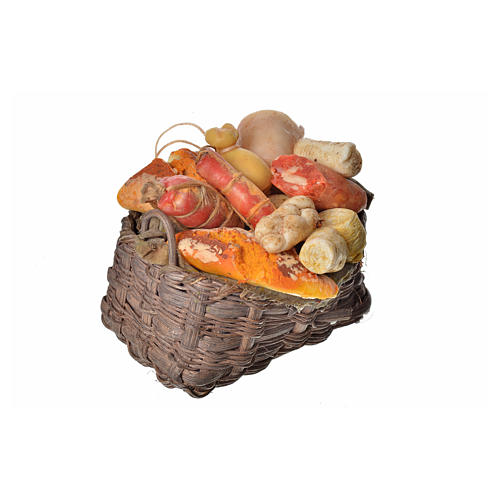 Nativity accessory, cold meat basket in wax, 10x7x8cm 2