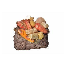 Comida em Miniatura para Presépio: Cesta charcutaria em cera 10x7x8 cm