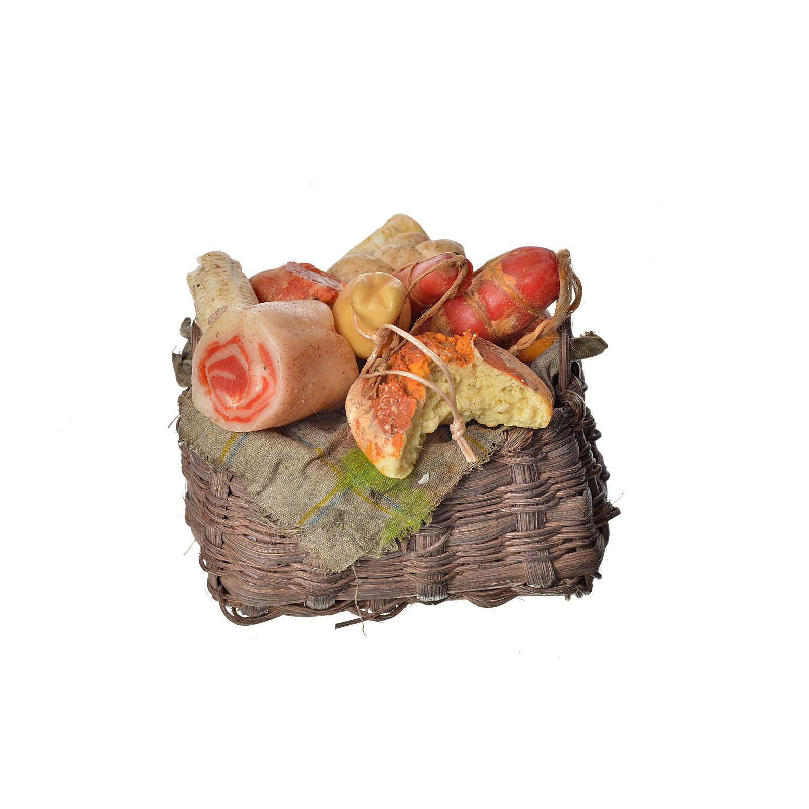 Nativity accessory, cold meat basket in wax, 10x7x8cm 4