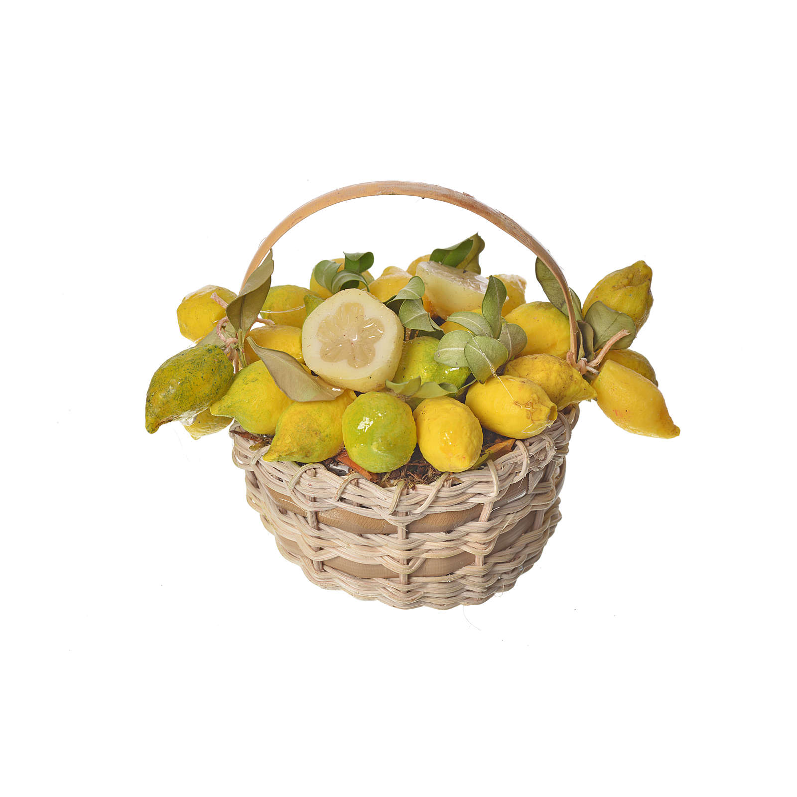 Nativity accessory, lemon basket in wax, 10x7x8cm 4