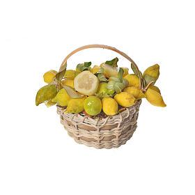 Nativity accessory, lemon basket in wax, 10x7x8cm s1