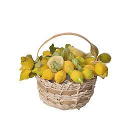 Nativity accessory, lemon basket in wax, 10x7x8cm s3
