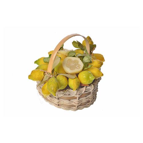 Nativity accessory, lemon basket in wax, 10x7x8cm 2