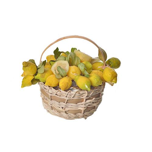 Nativity accessory, lemon basket in wax, 10x7x8cm 3