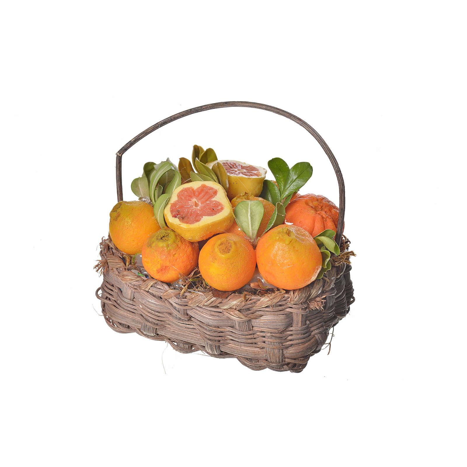 Mini panier oranges en cire pour crèche 10x7x8cm 4