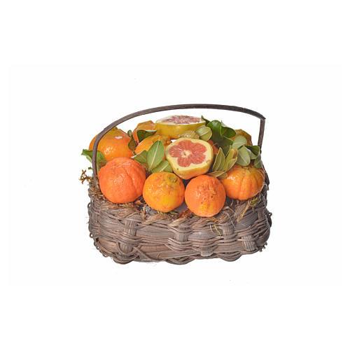 Mini panier oranges en cire pour crèche 10x7x8cm 1