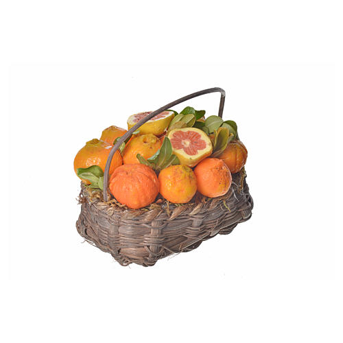 Mini panier oranges en cire pour crèche 10x7x8cm 2