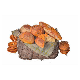 Nativity accessory, bread basket in wax, 10x7x8cm s1
