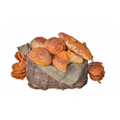Nativity accessory, bread basket in wax, 10x7x8cm 1