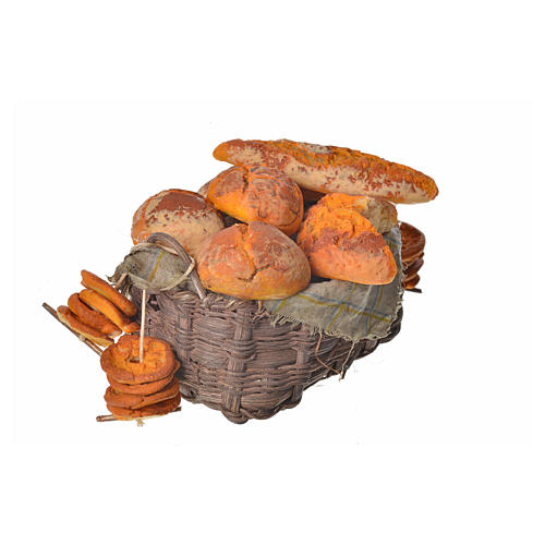 Nativity accessory, bread basket in wax, 10x7x8cm 2