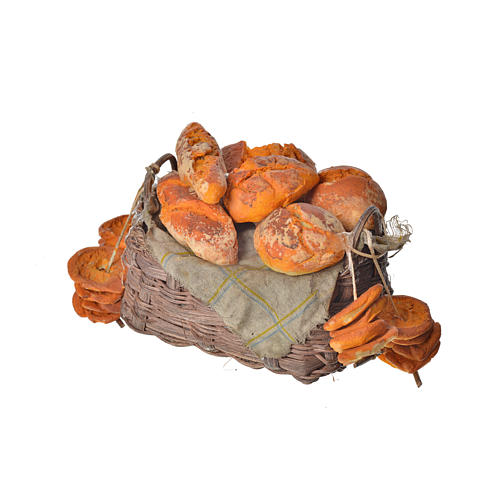 Nativity accessory, bread basket in wax, 10x7x8cm 3